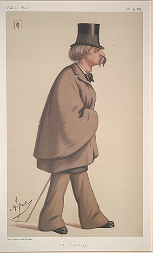 "Sir William Fraser, 4th Baronet - ""The Sanitary"". Caricature by Ape published in Vanity Fair in 1875."