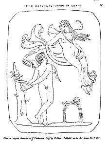 A winged, nude male figure with hands bound to a tree looks up at a mostly nude female figure floating above him