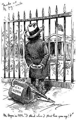 William Jennings Bryan gazes at the White House (Berryman cartoon, 1899)