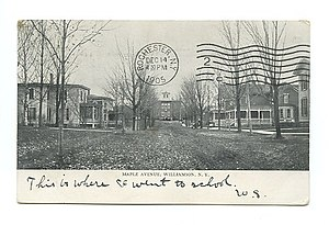 Williamson Union School in 1905 As viewed along Maple Avenue (postcard)
