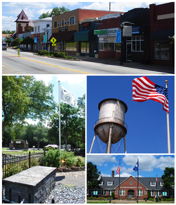 Top, left to right: Downtown Williamston, the grave of West Allen William (founder of Williamston) in Williamston Springs Mineral Park, water tower at the Williamston Mill, Williamston Municipal Center