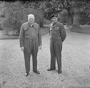 Siren suit - Winston Churchill wearing a siren suit beside British general Bernard Montgomery during the Second World War in the United Kingdom