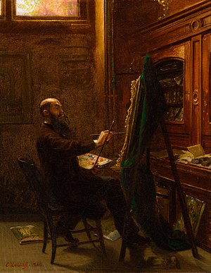 Worthington Whittredge - Worthington Whittredge in His Tenth Street Studio by Emmanuel Leutze (1865)