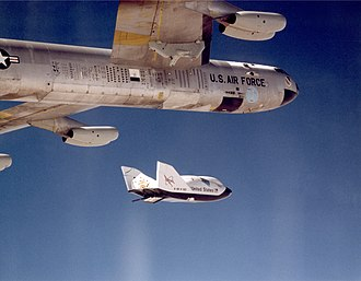 Drop test - The X-38 research vehicle is released from Balls 8, NASA's B-52 mothership during a drop test.  The pylon used to carry experimental vehicles is visible near the top of the photo, between the fuselage and inboard right engine.