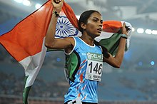 XIX Commonwealth Games-2010 Delhi (Women's) Athletics 10000m Final, Kavita Raut of India won the Silver medal, at Jawaharlal Nehru Stadium, in New Delhi on October 08, 2010.jpg