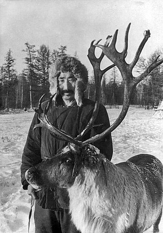 Yakuts - Sakha herder with a reindeer, early 20th c.