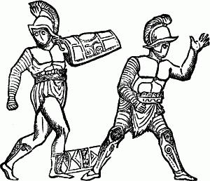 Samnite (gladiator type) - Combat between a light armed Samnite and a Samnite.