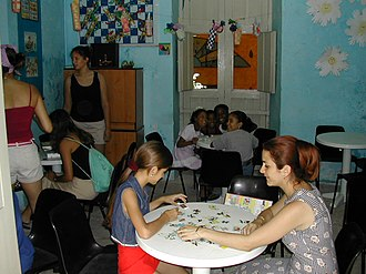 Youth work - A combination daycare and youth center in Havana, Cuba, where children can hear stories, play games, create art, and so on.