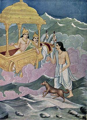 Mahaprasthanika Parva - God Indra offers Yudhishthira to jump into his chariot to enter heaven, but without the dog. Yudhishthira refuses because he claims he cannot betray and abandon his friend, the dog.