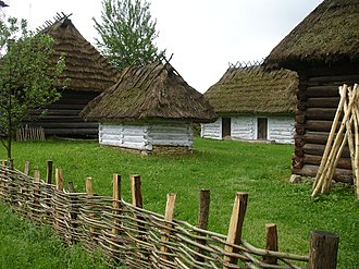 Wattle (construction) - A wattle fence at Sanok-Skansen outdoor museum in Poland