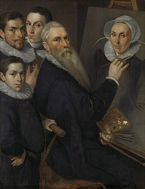 Jacob Willemsz Delff - Portrait of the artist and his family, ca. 1590, now at the Rijksmuseum Amsterdam