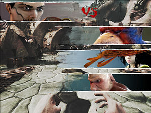 Zeno Clash - Zeno Clash uses slide-in versus screens before combat akin to many fighting games.