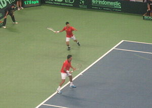 Serbia Davis Cup team - Djokovic and Zimonjić during the tie against Czech Republic (Belgrade 18 September 2010)