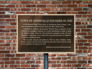 Zionsville, Indiana - Historical marker near the corner of Main and Cedar streets.
