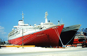 RMS Transvaal Castle - The Big Red Boat III and Rembrandt laid up in Freeport's harbor on August 25, 2001.
