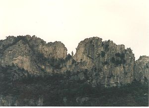 "Seneca Rocks - ""The Gendarme"" at Seneca Rocks in mid summer 1985"