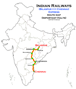 Bilaspur–Chennai Central Superfast Express - Wikipedia on boston map direction, india map direction, street map direction,