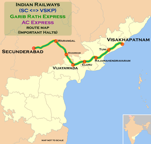(Secunderabad - Visakhapatnam) Garib Rath Express and AC Express route map.png