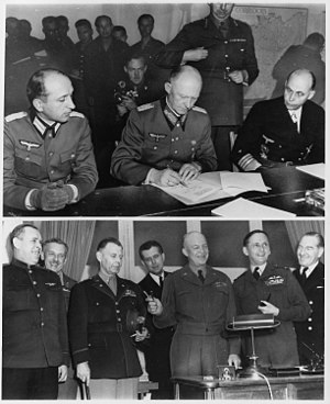 Reims - German surrender of 7 May 1945 in Reims. (Top) – German officers sign unconditional surrender in Reims. (Bottom) – Allied force leaders at the signing.