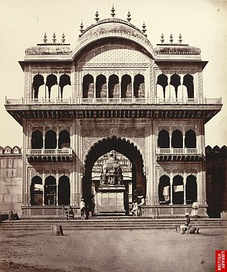 Mathura - Gate of Shet Lukhmeechund's Temple, a photo by Eugene Clutterbuck Impey, 1860's.