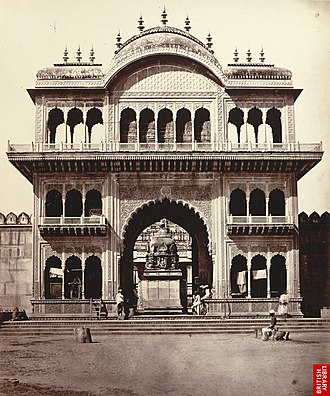 Braj - Gate of Shet Lukhmeechund's Temple, a photo by Eugene Clutterbuck Impey, 1860's.