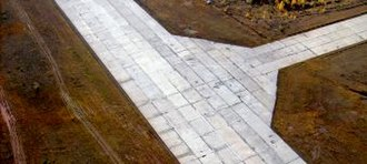 Ust-Kut Airport - Image: Покрытие ВПП аэродром Усть Кут