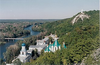 Donets - View of the Donets and Sviatohirsk Lavra, the Holy Mountains.