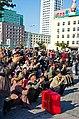 0914 - Nordkorea 2015 - Pjöngjang - Public Viewing am Bahnhofsplatz (22789174410).jpg