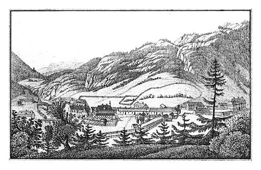 116 Gußwerk - das k.k. Gußwerk beim Einfluße des Aschbaches in die Salza - Anton von Schouppe, lith Folwarczni - J.F.Kaiser Lithografirte Ansichten der Steiermark 1830