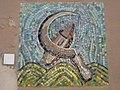 1170 Lascygasse 30-34 Stg. 6 - Mosaikhauszeichen Sichel von Eugenie Deutsch 1957 IMG 4501.jpg