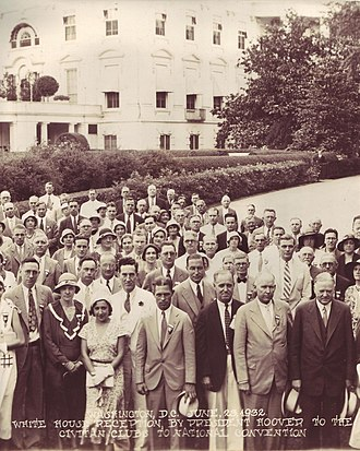 Civitan International - Herbert Hoover (bottom right) holding a reception for delegates to the 12th Civitan International Convention