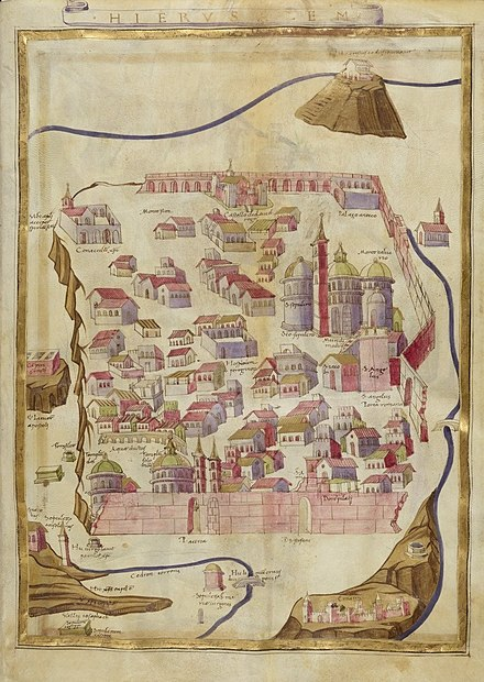 "This 1472 map of Jerusalem notes the place of the Pentecost, ""Ubi apostoli acceperunt spiritum sanctum"", at the location of the Cenacle. 1472 map of Jerusalem by Hugo Comminelli and Pietro del Massaio 01.jpg"