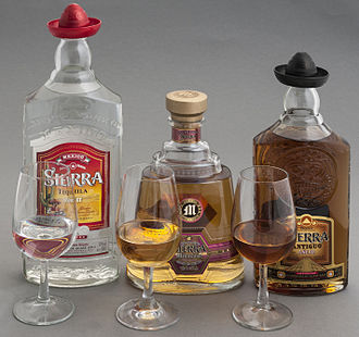 Tequila - From left to right, examples of plata, reposado and añejo tequila
