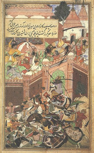 Battle of Chanderi - Illustration of the battle from Baburnama