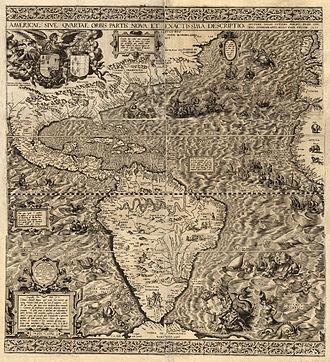 Diego Gutiérrez (cartographer) - Americae Sive Qvartae Orbis Partis Nova Et Exactissima Descriptio, 1562