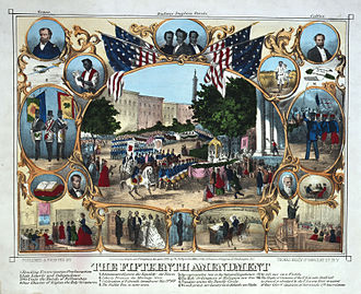 Fifteenth Amendment to the United States Constitution - 1870 print celebrating the passage of the Fifteenth Amendment in February 1870, and the post Civil War political empowerment of African Americans.