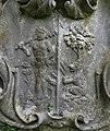 1727 grave of Sir Peter Meyer, merchant, at St. Andrew, Totteridge, Barnet, London, detail.jpeg
