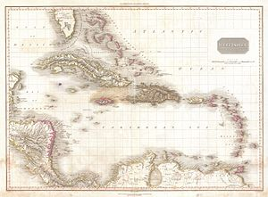 USS Ferret (1822) - Map of early 1800s West Indies