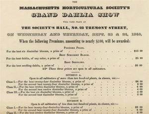 Massachusetts Horticultural Society - 1840 Grand Dahlia show