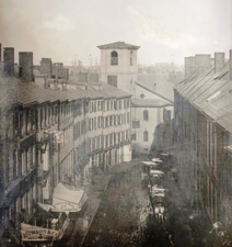 Brattle St., 1855 (future site of City Hall), photo by Southworth & Hawes