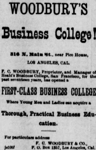 Woodbury University - Advertisement in the first year of the school's existence, 1884.