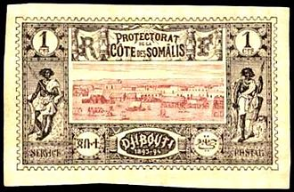 Postage stamps and postal history of Djibouti - An 1894 imperforate stamp of Djibouti also marked for the French Somali Coast.