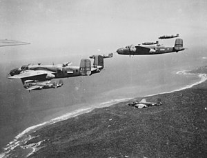 B-25 Mitchell bombers from No. 18 (NEI) Squadron near Darwin in 1943. This was one of three joint Australian-Dutch squadrons formed during the war.