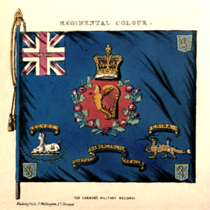 Battle honours of the British and Imperial Armies - Regimental Colour of the 18th Regiment of Foot showing the earliest battle honour (for Namur) and the badges later awarded for Egypt and China.