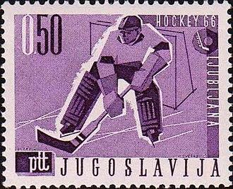 1966 Ice Hockey World Championships - Image: 1966 World Ice Hockey Championships stamp of Yugoslavia