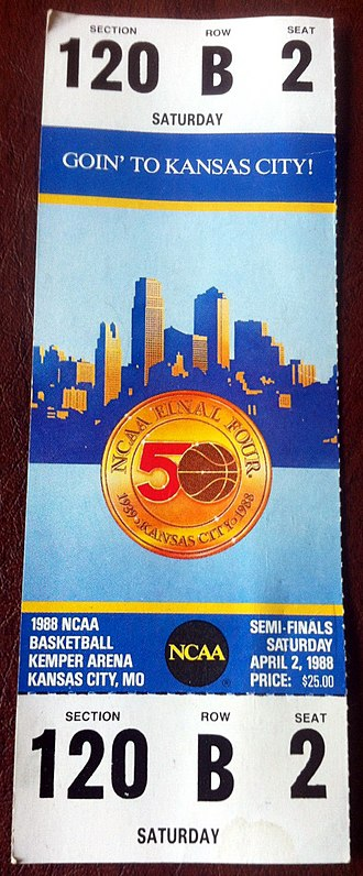 NCAA Division I Men's Basketball Tournament - A ticket from the 1988 tournament held in Kansas City, Missouri