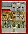 19th century Janam Sakhi, Guru Nanak inside a Mecca mosque with feet facing the kaaba.jpg