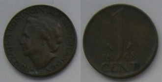 One cent coin (Netherlands) - Image: 1 Cent 1948