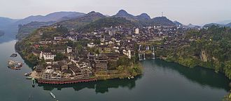 Yongshun County - Aerial panorama of Furong, a Tujia ancient town in Yongshun County