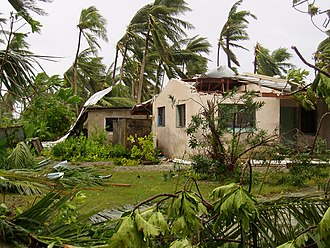 Cyclone Percy - A building in Tokelau damaged by Cyclone Percy